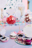 Various Dessert Sweet Cupcakes, Candy, confection Table. Candy bar Royalty Free Stock Photos