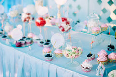Various Dessert Sweet Cupcakes, Candy, confection Stock Images