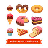 Various desserts and bakery. Cupcakes, donut, cake. Pie and ice cream. Flat style illustration. EPS 10 vector vector illustration