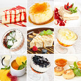 Various desserts collage. Including cheesecakes, napoleon cakes, tiramisu with grated chocolate, jelly desserts, cottage cheese pancakes and creme brulee stock images