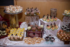 Various desserts. Display of various desserts wedding royalty free stock photography