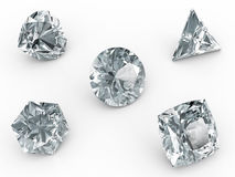 Various diamonds on white Stock Photos