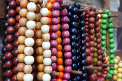 Various of different colorful necklace at flea market Stock Images