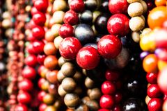 Various of different colorful necklace at local polish market. Stock Photo