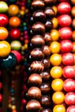 Various of different colorful necklace at local polish market. Stock Photography