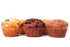 Various different muffin cup cakes white background. Various different muffin cup cakes Stock Image