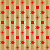 Various different red stars offset  in rows on golden stripes Royalty Free Stock Images