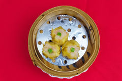 Various Dim Sum in Bamboo Steamed Bowl Royalty Free Stock Photos