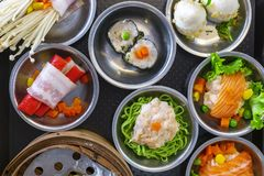 Various Dim Sum on the Table, Steamed Traditional Chinese Cuisin. E Food Royalty Free Stock Photo
