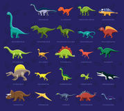 Various Dinosaur Side View Cartoon Vector Illustration Stock Photo