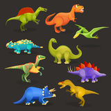 Various dinosaurs set of Jurassic period. Funny cartoon creatures. Set of various dinosaurs of Jurassic period. Funny cartoon creatures for children book vector illustration