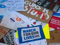 Various discarded signs for the March for Our Lives rally in in royalty free stock images