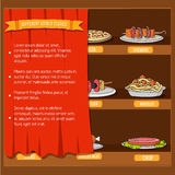 Various dishes background concept. Vector. Illustration template for your design royalty free stock images