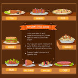 Various dishes background concept. Vector. Illustration template for your design stock photography