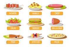 Various dishes icons set concept. Vector. Illustration template for your design royalty free stock image