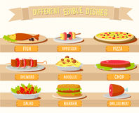 Various dishes icons set concept. Vector Royalty Free Stock Image