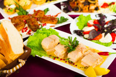 Various dishes served on the table Royalty Free Stock Photography