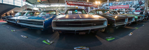Various Dodge Charger (Muscle car), modesl 500 and R/T are standing in a row. Stock Photography