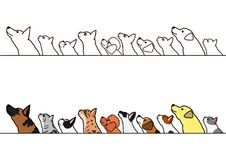 Dogs and cats looking up profile border set. Various dogs and cats looking up profile in a row, with and without color stock illustration