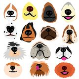Various dogs nose part set. With tongue, mustache, teeth appearing stock illustration