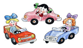 Puppets driving toy cars Stock Photo