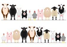Livestock border set. Various domestic animals in a row, set of  livestock border vector illustration