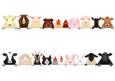 Livestock border set. Various domestic animals in a row, set of  livestock upper body border stock illustration