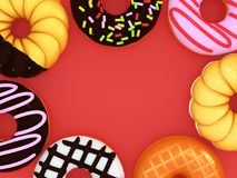Various donuts Copy space in the center royalty free illustration