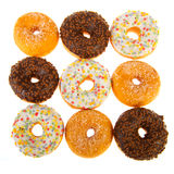 Various donuts on white background Stock Image