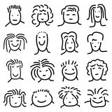 Various doodle people faces Royalty Free Stock Photos