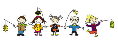 Various Doodle Sketched Kids  Royalty Free Stock Images