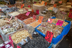 Various (dried) food being sold at a street market in Hong Kong Stock Photography