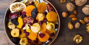 Various dried fruits in a bowl Royalty Free Stock Photo