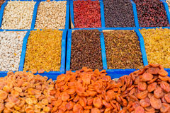 Various dried fruits on the counter of the Bazaar stock image
