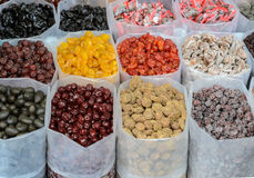 Various dried fruits for sale Stock Photos