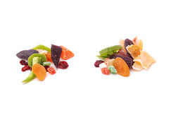 Various dried fruits on white background Stock Image