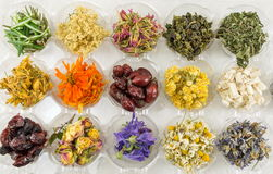 Various dried plants for making perfect tea Royalty Free Stock Photography