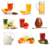 Various drinks and cups samples Stock Photo