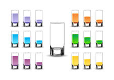 Various drinks. Various glasses standing on white background Royalty Free Stock Photos