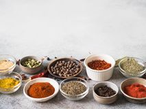 Various dry spices in small bowls on gray background. copy space royalty free stock photography
