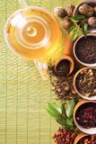 Various dry tea in small bowls Stock Photography