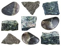Various Dunite Olivinite stones isolated on white. Collection of natural mineral specimens - various Dunite Olivinite stones isolated on white background Stock Photography