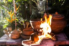 Earthen kitchen Stock Photo