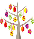 Various Easter eggs on tree suspended Stock Photos
