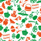 Various Easter icons seamless color pattern. Eps10 Royalty Free Stock Photo