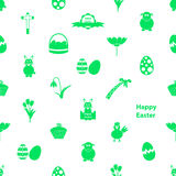 Various Easter icons seamless white and green pattern Royalty Free Stock Photos