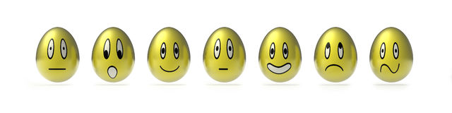Various  easter smily eggs Royalty Free Stock Photos
