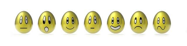 Various  easter smily eggs. 3d render of a group of easter smily messenger alike egg Royalty Free Stock Photos
