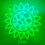 Various eco symbols on blurry green background Royalty Free Stock Images