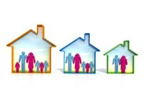Various ecological house. Ecological houses of different dimension for various types of family Royalty Free Stock Photo